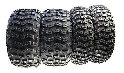 Citomerx Lot de 4pneus de quad, pneus tout-terrain avant / arrière 21 x 7-10 et 20x 10-9pour quad Yamaha YFZ 450R YFM 700R YFM 660R, Suzuki LTZ400LTR 450, Kawasaki KFX 450R, ATV, buggy