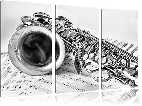 Pixxprint Saxophon auf Notenpapier als Leinwandbild | Größe: 3 Teilig (120x80 cm) cm | Wandbild | Kunstdruck | fertig bespannt