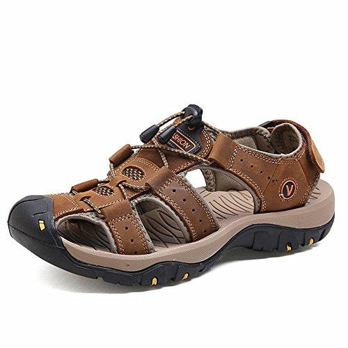 Sandalias de Verano Playa para Hombre Antideslizante Plataforma Calzados Deportivas Ajustable Hebilla Velcro Suede Slipper Marron 44