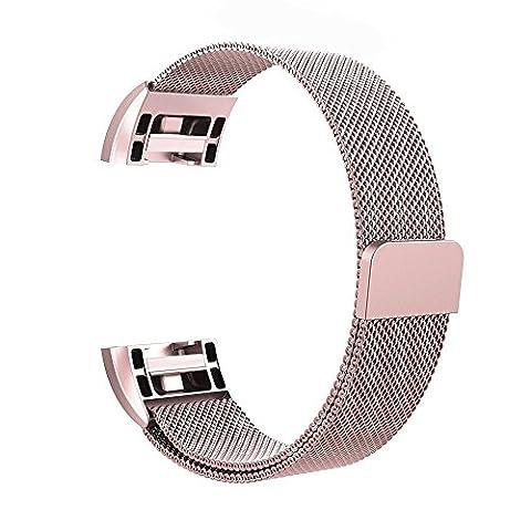 Fitbit Charge 2HR tracker de fitness Band par Wandlee, inoxydable Milanaise Boucle Bracelet Sangle avec Unique Magnet Lock, pas de boucle Nécessaire, rose