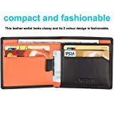 HOEASY RFID Blocking Wallet for Men,Slim Leather Wallet - Made with Napa Genuine Leather - Black Surface/Orange Inside Holding 12 Cards and Cash,Excellent Credit Card Protector
