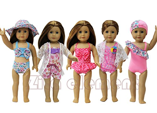 10PCS VERANO TRAJE DE BAñO BATH CLOTHES FITS PARA AMERICAN GIRL DOLL MY LIFE DOLL  OUR GENERATION AND OTHER 18 INCH DOLLS BY ZITA ELEMENT