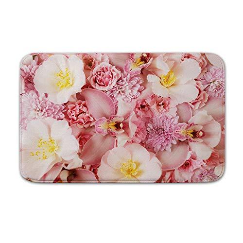 DKISEE Fußmatte für den Innen- und Außenbereich, Orchideen-Motiv, Pink, Flanell, 15.7