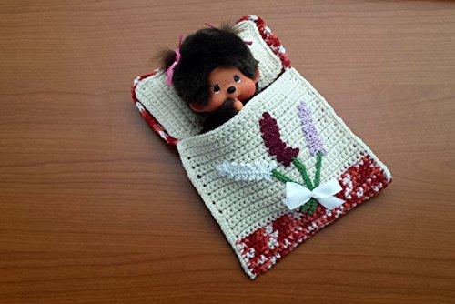 Puppenbettchen - Schlafsack für Monchichi 20 cm Blumenstrauß mit weißer - Blumensträuße Schuhe