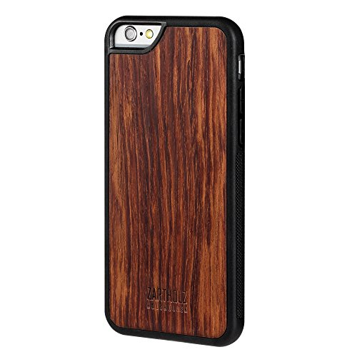 ZARTHOLZ passend für iPhone 6 6s Holzhülle Holz Case Cover Backcover Schale Bumper Tasche Gravur Rückseite Rosenholz Rosewood Schwarz Braun Dünn Design