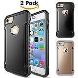 Coque iPhone 7/iPhone 8,Unives Étui Housse[2-Pack](1 noir +1 Transparent Gris) Slim Anti-rayure Antichoc Protection Case Cover avec Mat Plastique Bumper Doux TPU Gel pour iPhone 7/iPhone 8 4.7 pouces