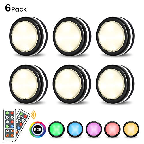 Under Cabinet Lights Elfeland RGB Wireless LED Puck Lights Closet Lights  4000K Dimmable Battery Powered Remote Control Atmosphere Night Light Ideal
