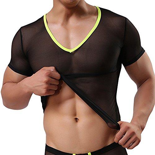 Herren Unterhemd aus Mesh Transparent Unterwäsche Stretch V-Ausschnitt T-shirt Tops Clubwear M-XL (M, Schwarz) (Mesh-stretch-unterhemd)