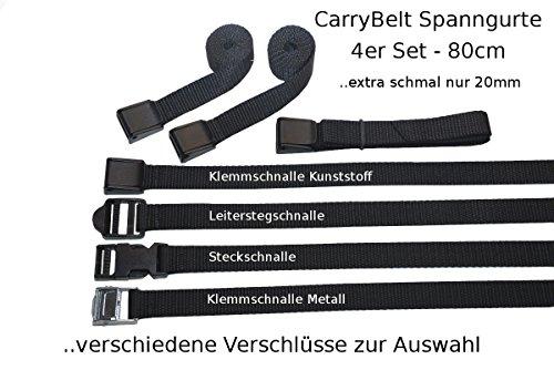 "CarryBelt \""Reims 20\"" Spanngurt / Zurrgurt 4er Set mit verschiedenen Verschlüssen wählbar - 20mm breit - 80cm lang /1teilig - Outdoor Haushalt KFZ Camping Multisport Caravan Motorsport (Klemmschnalle Metall)"