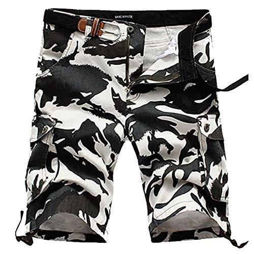ELETOP Herren Shorts Cargo Sommer Mode Shorts Tarnung Lounge Casual Shorts Schwarz und Weiß JD02-L/38 -