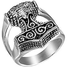 JewelryWe Anillo de Compromiso de Hombre Anillo de Sello Grande, Anillo Acero Inoxidable Plateado Celta