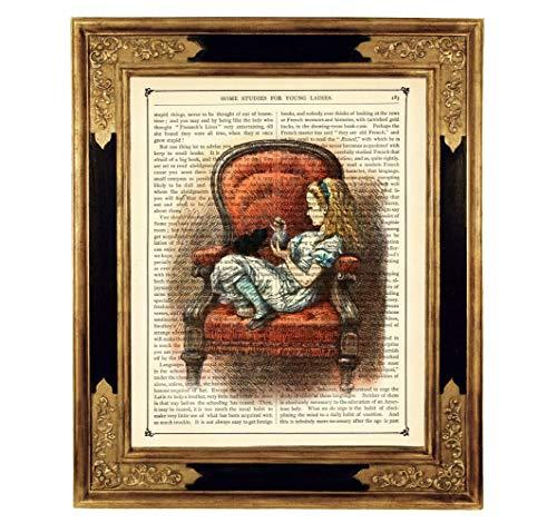 Alice im Wunderland Kätzchen Poster Kunstdruck auf antiker Buchseite Kinderzimmer Deko Sessel Geschenk Steampunk Bild ungerahmt