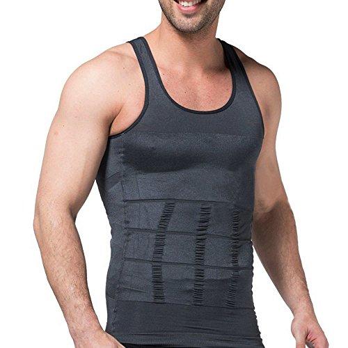 HANERDUN Kompressionsunterwäsche I Herren Tanktop I figurformendes Unterhemd für Männer I Sport Fitnessstudio I T-shirt Bodyshaper Bauchweg (T-shirt Haltung)