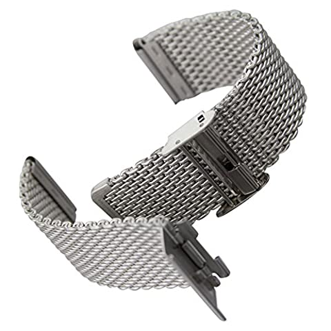 Geckota® Milanaise Maschen, Metall Uhrenarmband / Satin, 22mm (Chronograph Metal-band)
