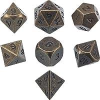 Juego de Dados 7-Die Poliédricos de Aleación de zinc Metal para Calabozos y Dragones RPG Dice Gaming Enseñanza de Matemáticas D&D, d20, d12, 2 Piezas d10 (00-90 y 0-9), d8, d6 y d4 (Bronce Antiguo)