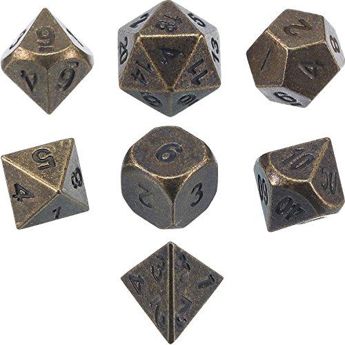 Frienda Zinklegierung Metall Polyedrische 7-Die Würfel Set für Dungeons and Dragons RPG Würfel Gaming D&D Mathematik Lehre, d20, d12, 2 Stück d10 (00-90 und 0-9), d8, d6 und d4 (Uralt Bronze)