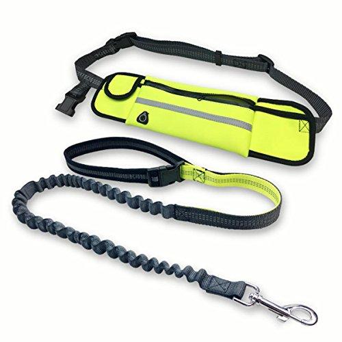 Fypo Jogging Hundeleine mit Bauchgurt, elastisch 1,2 m - 2,0 m, mit Reflektor-Streifen, ideal für mittelgroße und große Hunde Jogging-Leine freihändig Joggen Spazieren gehen mit Hund