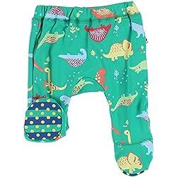 Piccalilly pantalones de pie ecológicos de algodón verde reversible de dinosaurio