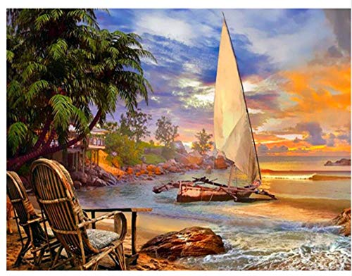 CNLSZM Boot im Meer Strand Diamant malerei