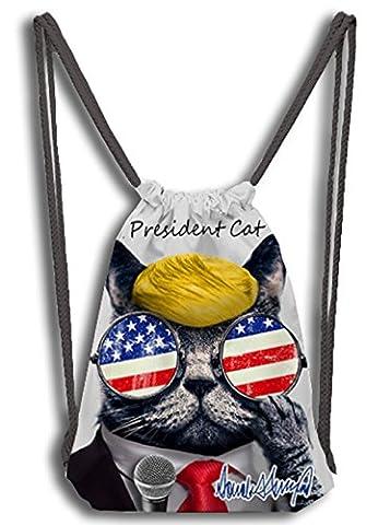woson® Cordon de serrage Sac de gym unisexe sac de sport sac de sport sac à dos double face 3D Print personnellement keite Mr. President Cat–Make American Cats Great Again L Präsident