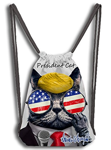 woson® Unisex coulisse Turn sacchetto Sport sacchetto Gymsack fotocamera doppio Contempo 3d Print personalmente keite Mr. President Cat - Make American Cats Great Again, Präsident, 33*30
