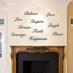 Dream Believe Inspire Decal Live Love Wall Sticker Words Stairs Inspiring Interior Design