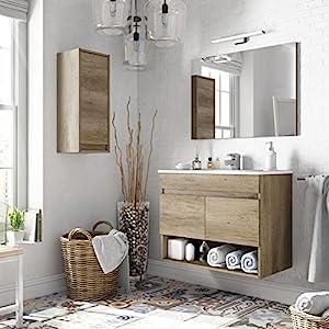 Miroytengo Conjunto mobiliario Aseo con Mueble suspendido 2 Puertas y Hueco, Espejo, lavamanos de pmma y Columna…