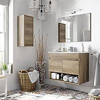 Miroytengo Pack mobiliario baño con Mueble, Espejo, Lavabo de cerámica y Armario Auxiliar diseño Moderno - mueblesdebanoprecios.eu - Comparador de precios