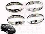 #10: RedClub Galio/ Prius Car Door Finger Guards (Chrome) [Made in India] for Toyota Innova (Old Model - 2004-15) with Complementary 01 Pair of RedClub Blind Spot Mirrors + RedClub Pen Free