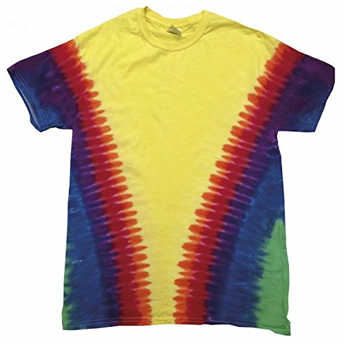 Colortone - Camiseta psicodélica modelo cremallera de manga corta para adultos Uninex 100% Algodón- Verano Hippie (Extra Grande (XL)/Arcoíris Vee)