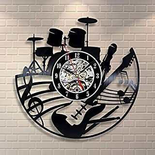 LM Guitar Drums Vinyl Record Design Wall Clock - Rock Band Music Art - Best gift for Music Fans
