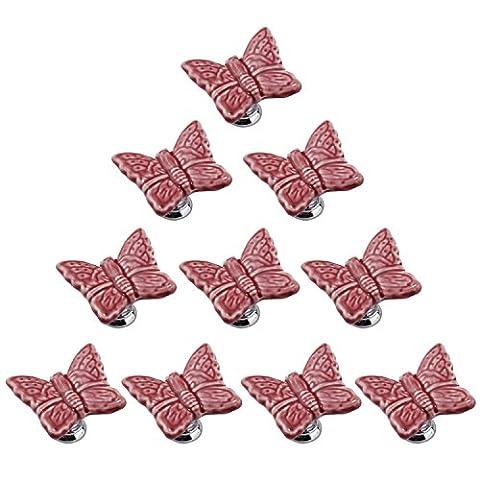 PsmGoods® Candy Color Cute Butterfly Porcelain Ceramic Door Drawer Knobs Vintage for Dresser Kitchen Cabinet Cupboard Pulls Handles Baby Kid's Children's Furniture 10Pack (Pink)