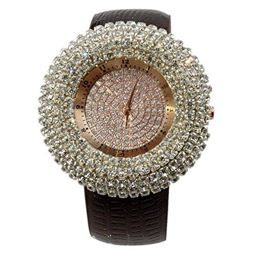 Hrph Mode voll-jewelled Übertriebene Distinctive Damen-Quarz-Armbanduhren Geschenk