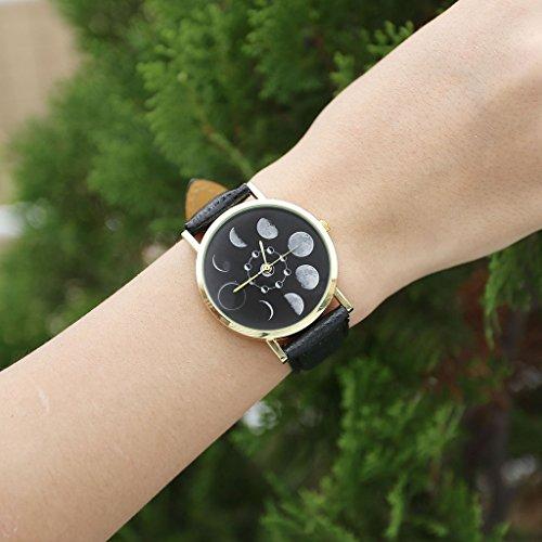 JSDDE Uhren,Fashion Damen Mondfinsternis-Muster Armbanduhr kein-Zifferskala Damenuhr Lederarmband Analog Quarzuhr,Schwarz - 3