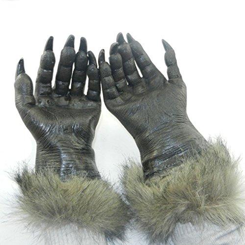 Halloween Maske Deko Werwolf Horror Masken Hexenhandschuhe Halloween Handschuhe Teufel Kostüm für Erwachsene Party Hexen (Teufel Masken Halloween)