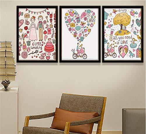 Amanti dei cartoni animati decorazioni per la decorazione di san valentino 3 panel/set dipinti su tela dipinti su tela wall art pictures decorazioni per l'home office impermeabile per senza telaio