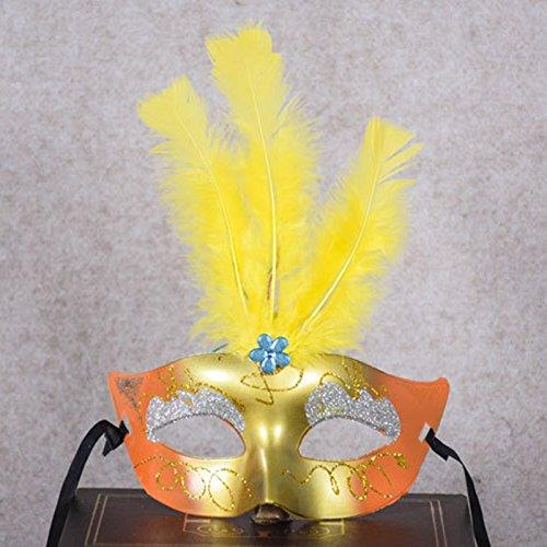 Kicode Leuchtend LED Bunt Feder Prinzessin Maske Weiblich Damen Maskerade für Kostüm Party Halloween Weihnachtsdekoration