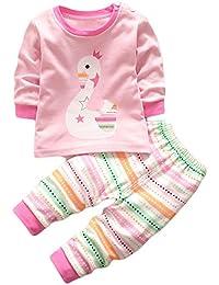 HENGSONG Cygne Impression Garçons Filles Coton Pyjama Bébé Four Seasons Sous-vêtements Ensembles Enfants