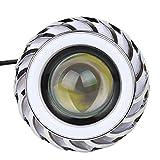 Larcele 2 Stück Hoch/Niedrig Strahl LED-Halo Scheinwerfer mit Engel Augen Dämonenaugen Zum Motorrad 12V EMY-03 (Licht Blau,Rot)