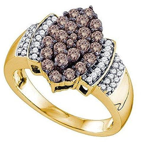 Bague Femme 10 ct Or Jaune 1.00 ct Rond Blanc & Cognac Diamants 1 ct