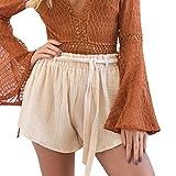 LEEDY ️ Damen Sommer Strand Shorts Hosen Hotpants Casual Klassic mit Gürtel Bekleidung Loose Fit Shorts Kurze Hosen Damenhosen