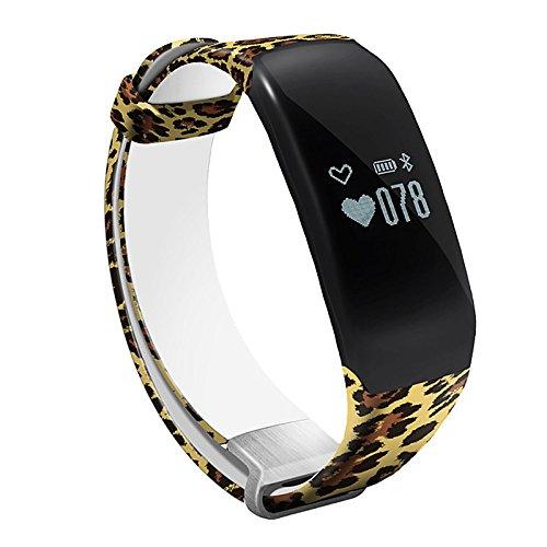 Lemumu Schwimmen Übung Hheart Herzfrequenz Messgerät Schritt wasserdicht Ring Camouflage Gurt intelligente Hand Ring Schickes Armband, Leopard -