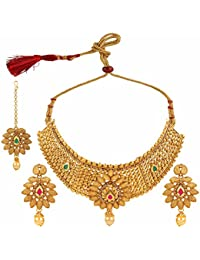 Parinaaz Ethnic Gold Plated Red And Green Crystal Antique Bridal Necklace Jewellery Set With Drop Earrings & Mangtikka...