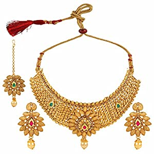 Efulgenz Indian Bollywood Traditional Emerald Heavy Bridal Designer Jewelry Choker Necklace Set in Antique 18K Gold Tone for Women and Girls