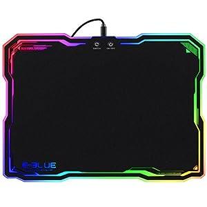 Hard-Gaming-Mauspad RGB, 8Leuchtmodi, 3Helligkeitsstufen, LED-Mauspad für Gamer
