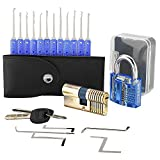 Geepro 17 piezas de bloqueo de selección Set / Lock Picking Kit con 2 cerraduras de entrenamiento, Lockpicking Key Extractor Herramienta + candado de