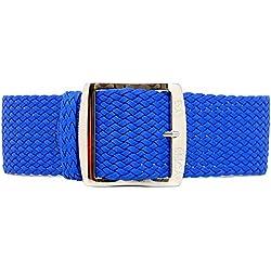 DaLuca Braided Nylon Perlon Watch Strap - Blue (Polished Buckle) : 24mm