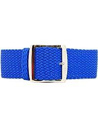 DaLuca Perlon - Correa de reloj (nailon trenzado y hebilla pulida, 20mm), color azul