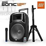 """Enceinte sono DJ mobile 12"""" 500W USB/BT/SD + Micro + Tel + Pied - Bm Sonic SONIC-12BT"""