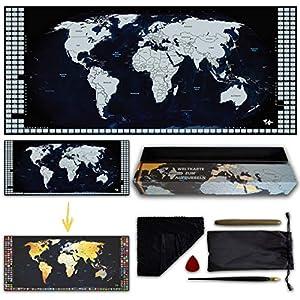TRAVORLD | Weltkarte zum Rubbeln in Deutsch | XL (100x43cm) | mit Zubehör und Geschenkverpackung | mit der Liebe zum Detail (Dunkelblau/Silber, Deutsch)